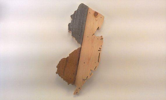 Wall Art Wooden New Jersey Map