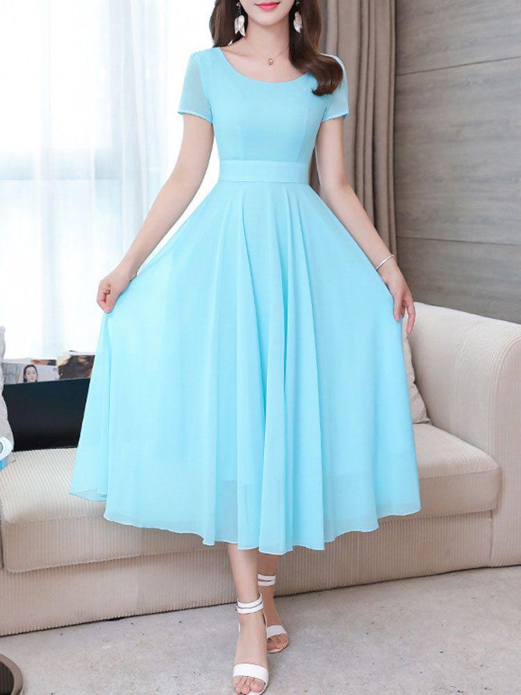 Slim Solid Color Chiffon Short-sleeved Dress #chiffonshorts