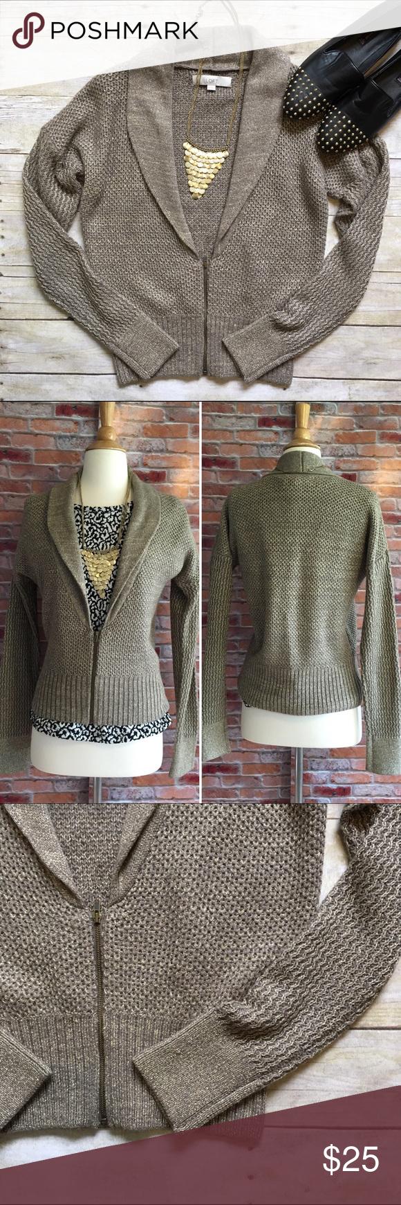 LOFT zip-up gold shimmer cardigan | Shawl and Lofts