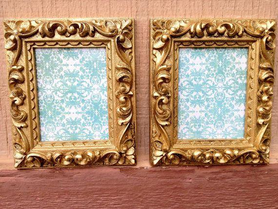 gold glittery mini frames ornate gold frames teen room decor chic nursery decor hollywood regency - Mini Picture Frames
