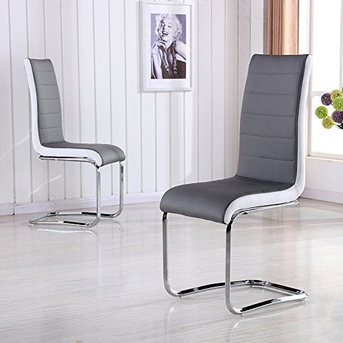 Schindora Faux Leather Dining Chairs With High Back And Chrome Legs Grey White Side