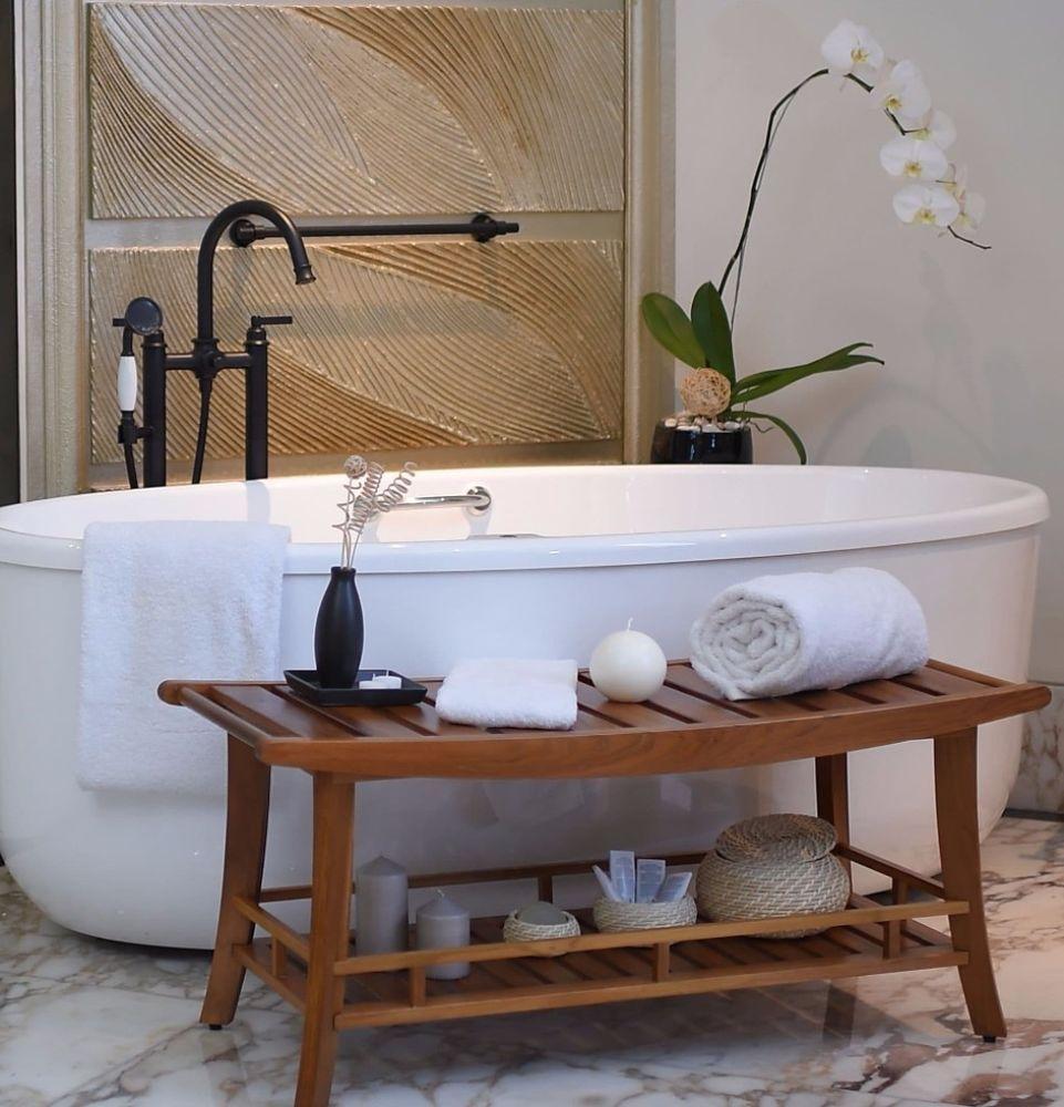 Large Teak Spa Bench Wood Shelf Shower Bathroom Seat Curved Stool Storage New