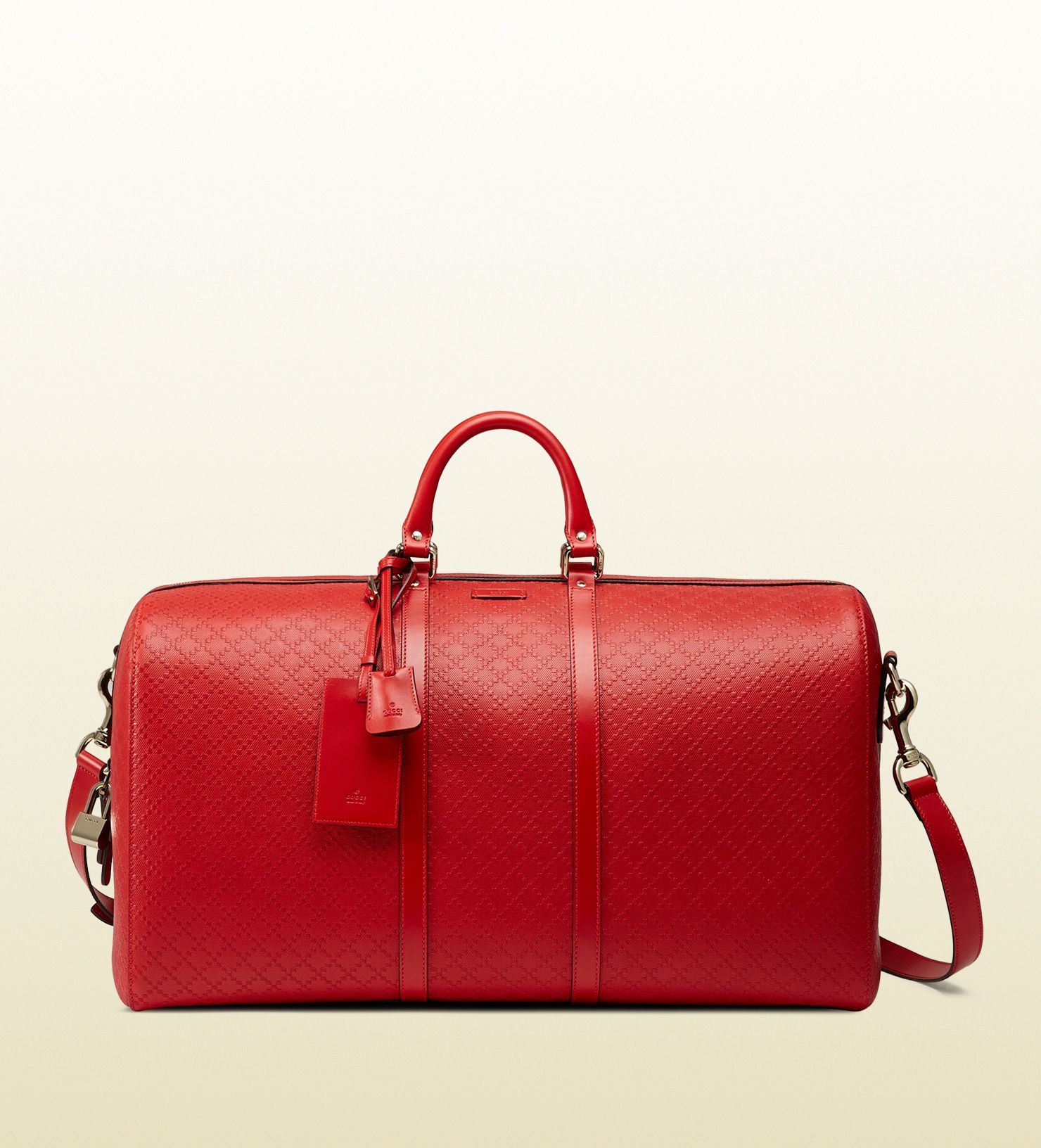 88988207f0b4e5 Gucci bright Diamante leather carry-on duffle bag | Beauty | Leather ...