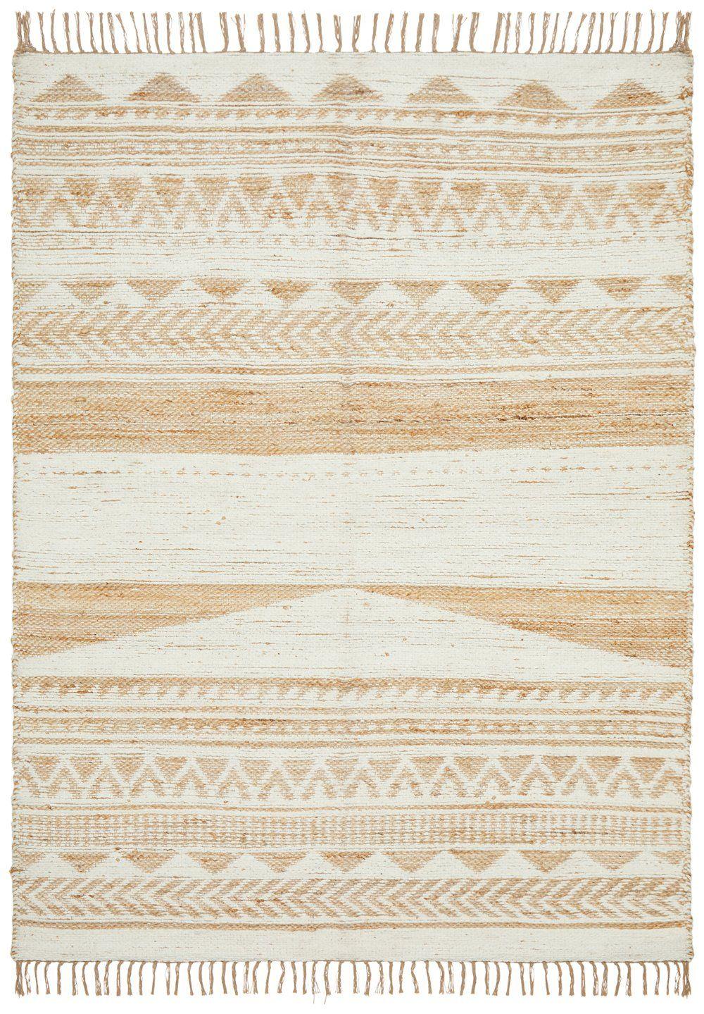 Natural Jute Blend Tribal Print Rug