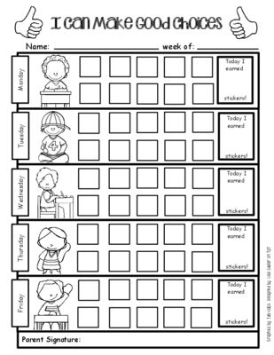 Positive Behavior Support Weekly Sticker Chart For Good Choices