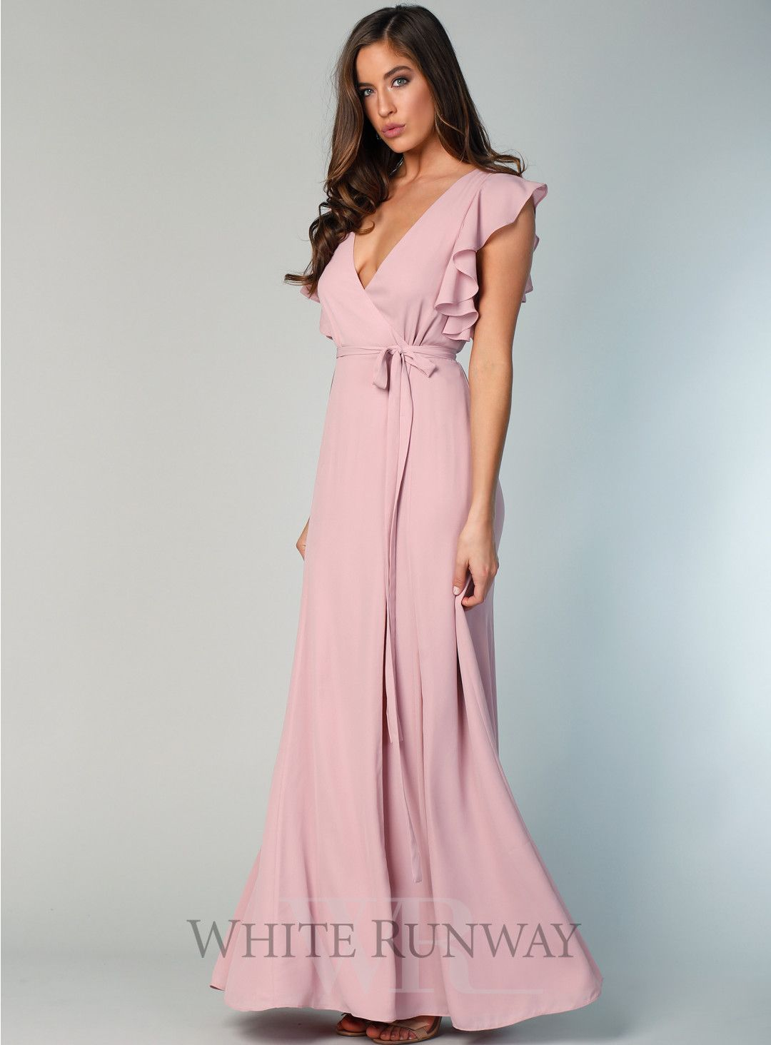 16a8727e3a7b Flutter Sleeve Flare Maxi. A beautiful full length wrap dress by Samantha  Rose. A v-neck style featuring a gorgeous frill sleeve and self tie at  waist.