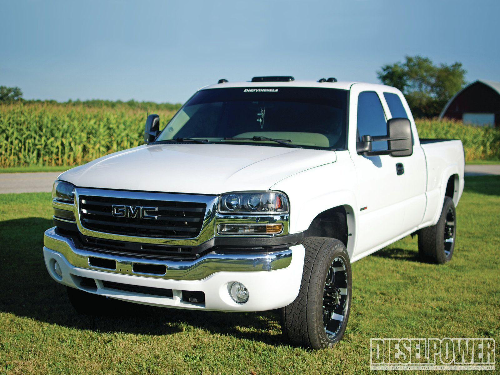 2003 gmc sierra white 2500 diesel lifted truck