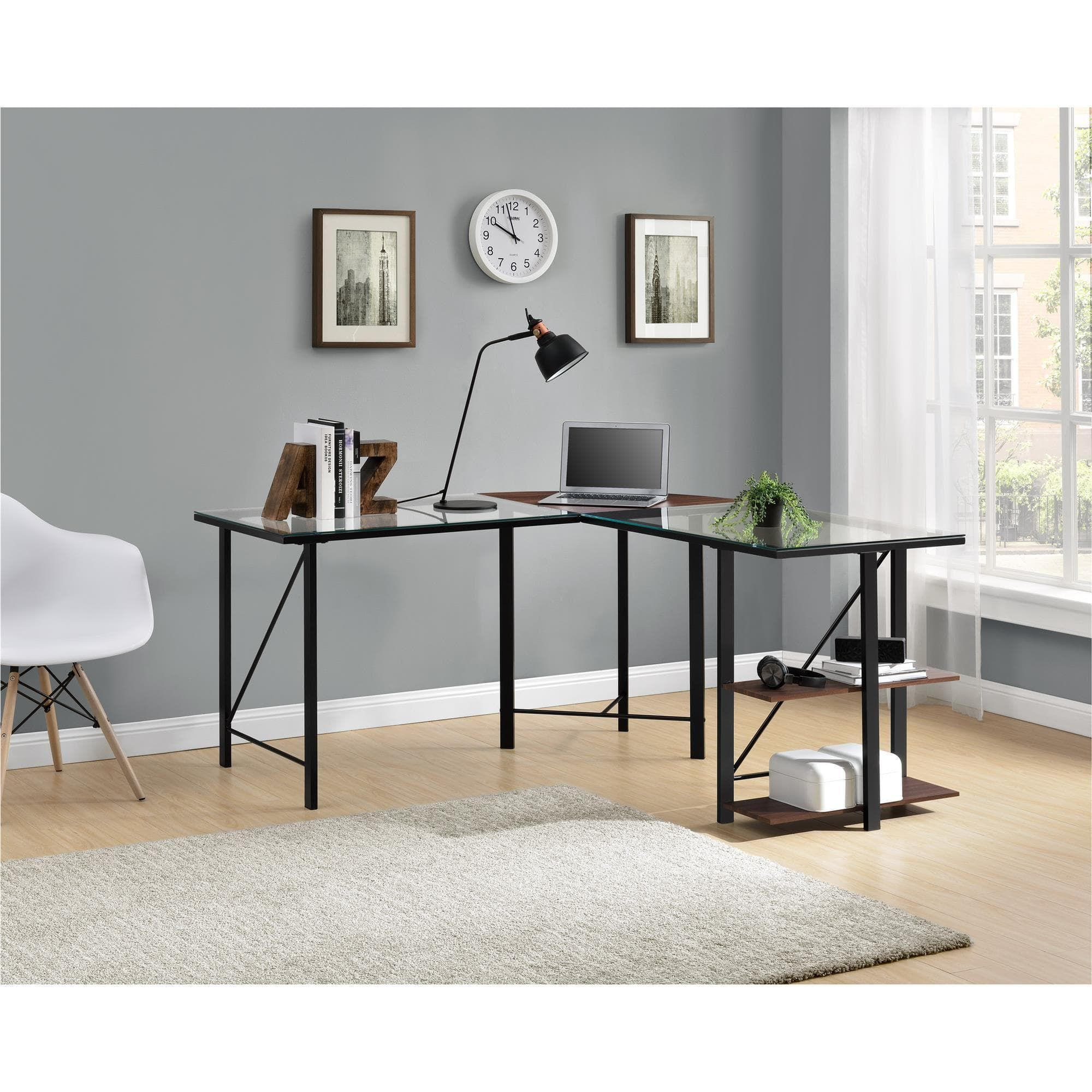 clay alder home commodore cherry black glass top l desk l shaped rh pinterest com