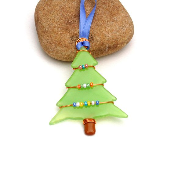 Fused Glass Christmas Tree Ornament  Suncatcher by buffaloartglass, $15.00