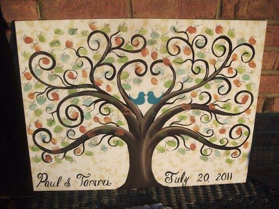 Wedding Thumbprint Guest Canvas16 x 2060  120 by CottageCreekArts, etsy $110.00