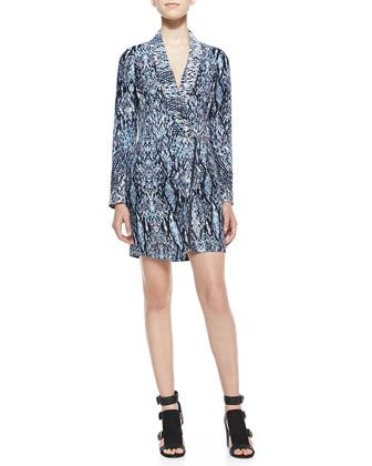 Asymmetric Abstract-Print Zip Dress, Blue by Charlie Jade at Neiman Marcus.