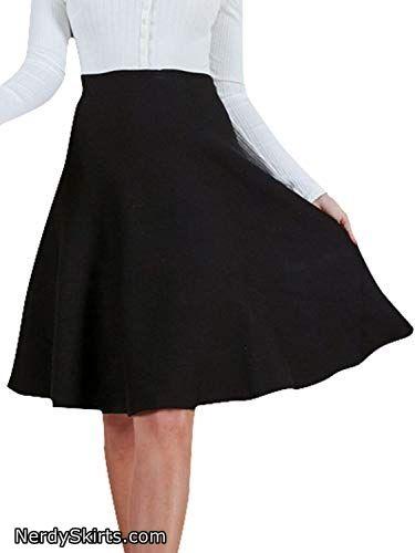9c3c128cd4 Fashiomo Women's High Waist Midi Skater Skirt Vintage A Line Flared Short  Skirt