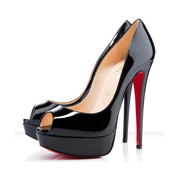 Christian Louboutin Lady Peep 150mm Patent Leather Pumps,Red Bottoms ($46) ❤ liked on Polyvore
