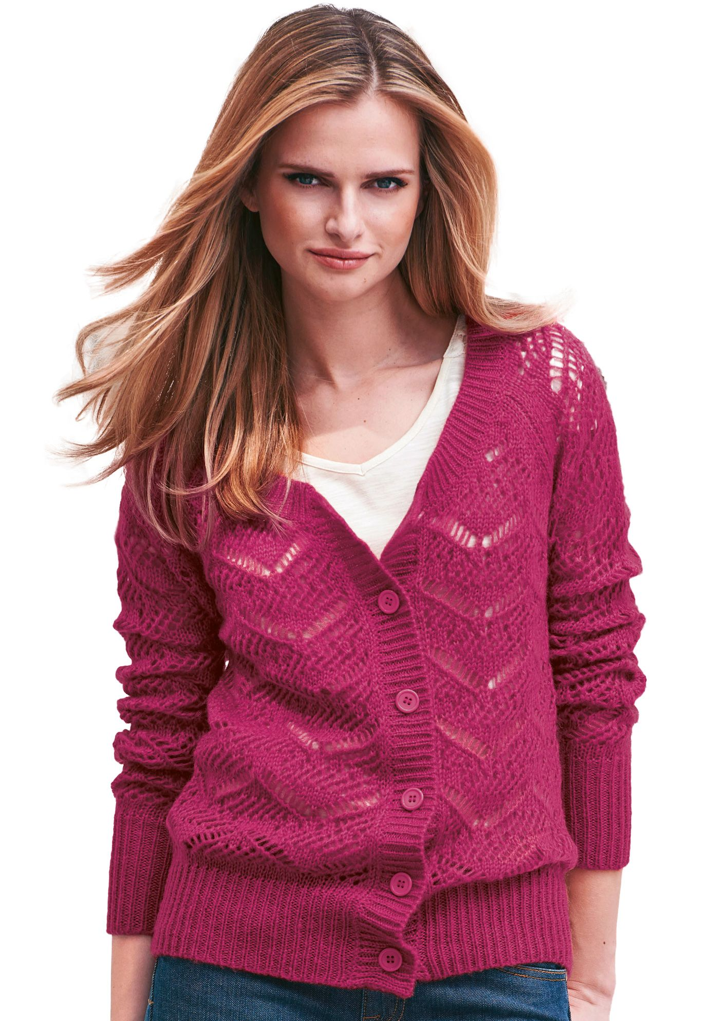 Our plus size knit cardigan sweater has a rich open