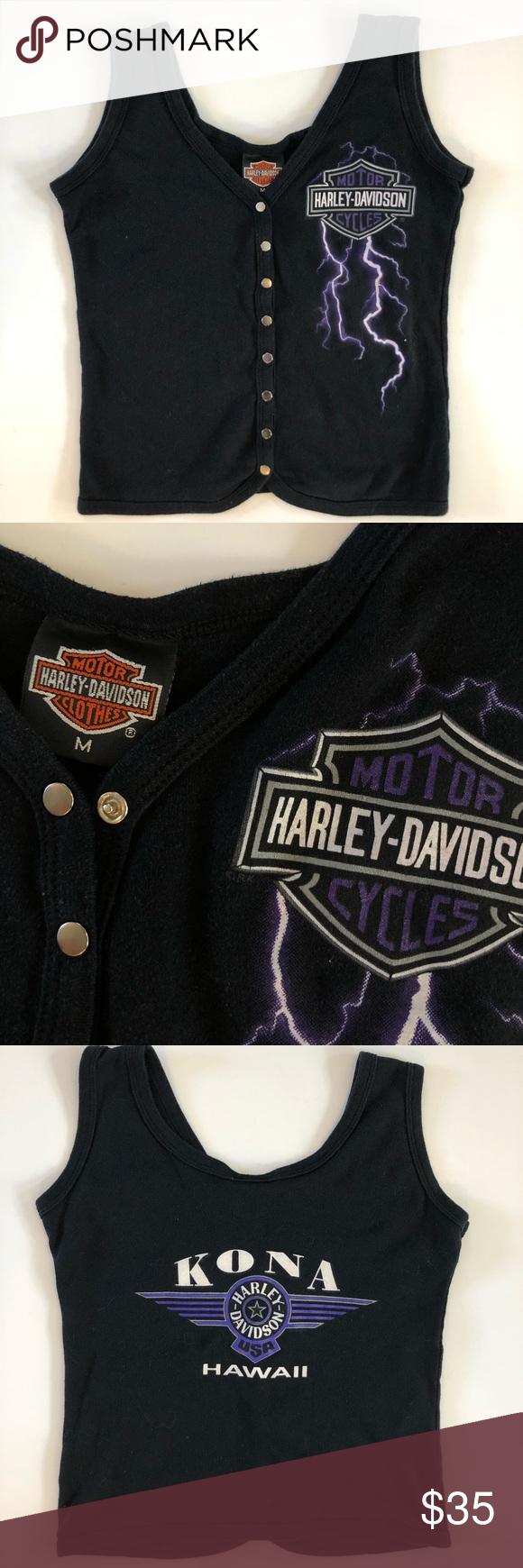 Kona Harley Davidson : harley, davidson, Harley, Davidson, Hawaii, Womens, Motorcycles, Ma…, Tops,, Sleeveless, Tshirt,