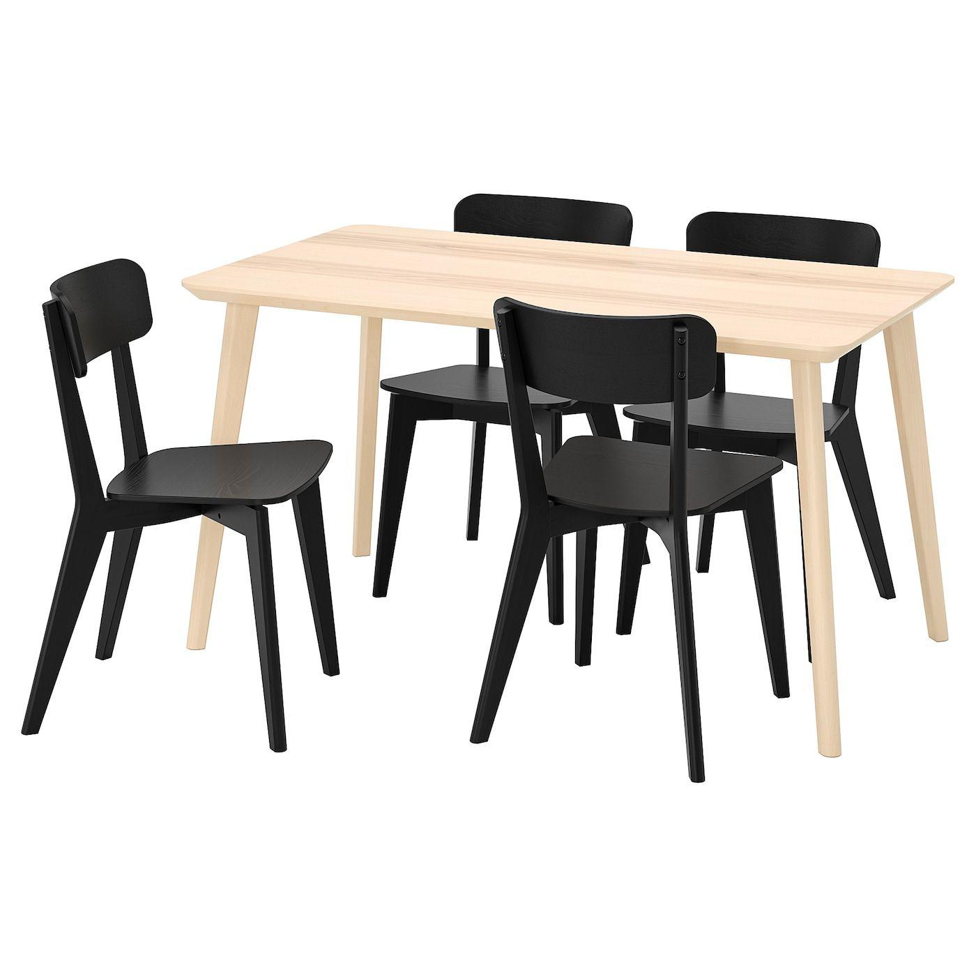 Lisabo Lisabo Table And 4 Chairs Ash Veneer Black Ikea Ikea Chair Table [ 1400 x 1400 Pixel ]