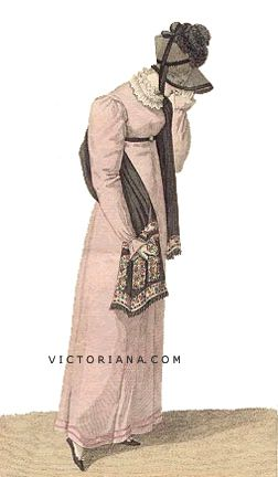 Day dress with shawl, bonnet (possibly mourning wear?), 1812