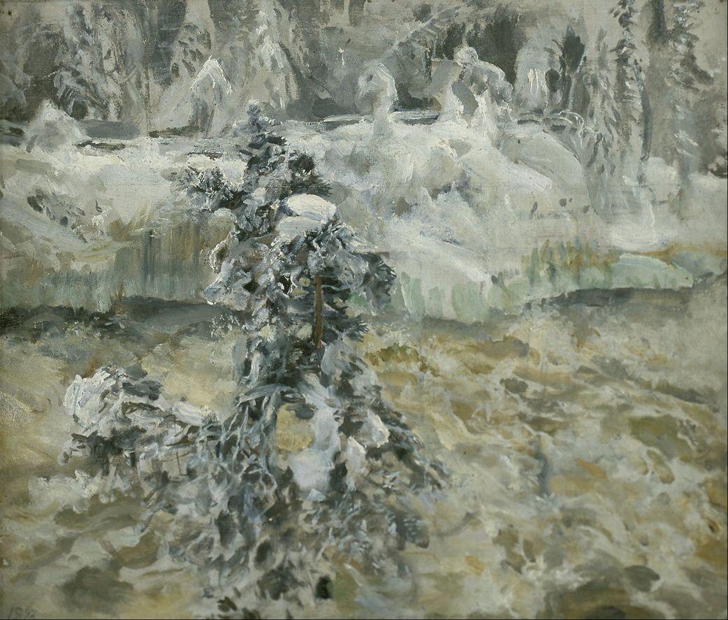 Akseli Gallen-Kallela (1865 –1931)  Imatra in Wintertime (1893), oil on canvas, 28.5 x 34 cm, Malmö Konstmuseum.