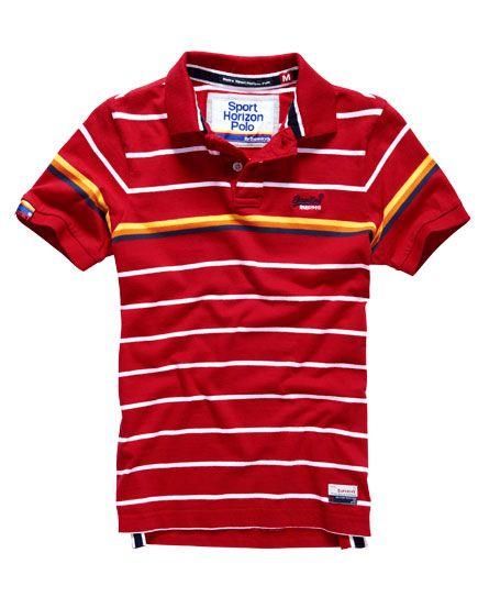 red Superdry Retro Sport Horizon Polo Shirt | Polo, Polo