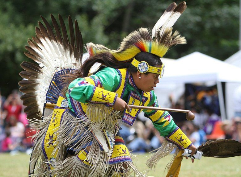 15-year-old Red Bear McCloud, of the  YAKAMA, and of the PUYALLUP Tribe, performs the teenage boys dance