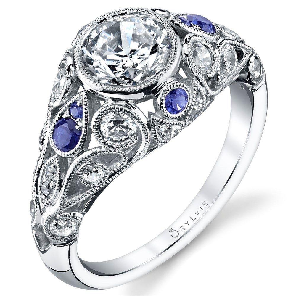 """Sylvie"" Bezel Set Diamond Engagement Ring With Sapphire Accents"