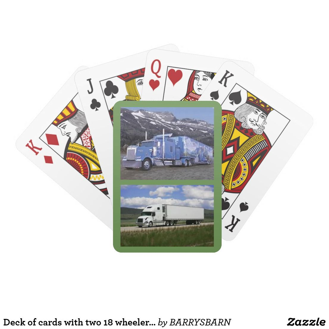 Deck of cards with two 18 wheeler trucks