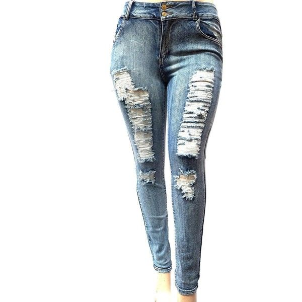 WOMENS PLUS SIZE Acid Wash Distressed Ripped BLUE SKINNY DENIM ...