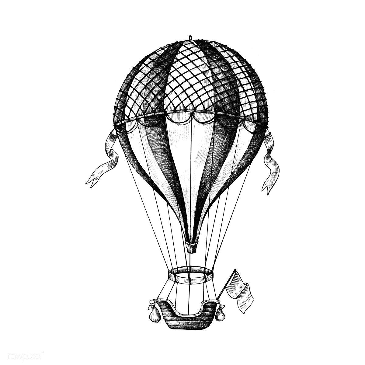 Hand Drawn Hot Air Balloon Premium Image By Rawpixel Com Hot Air Balloon Drawing Hot Air Balloons Art Air Balloon Tattoo