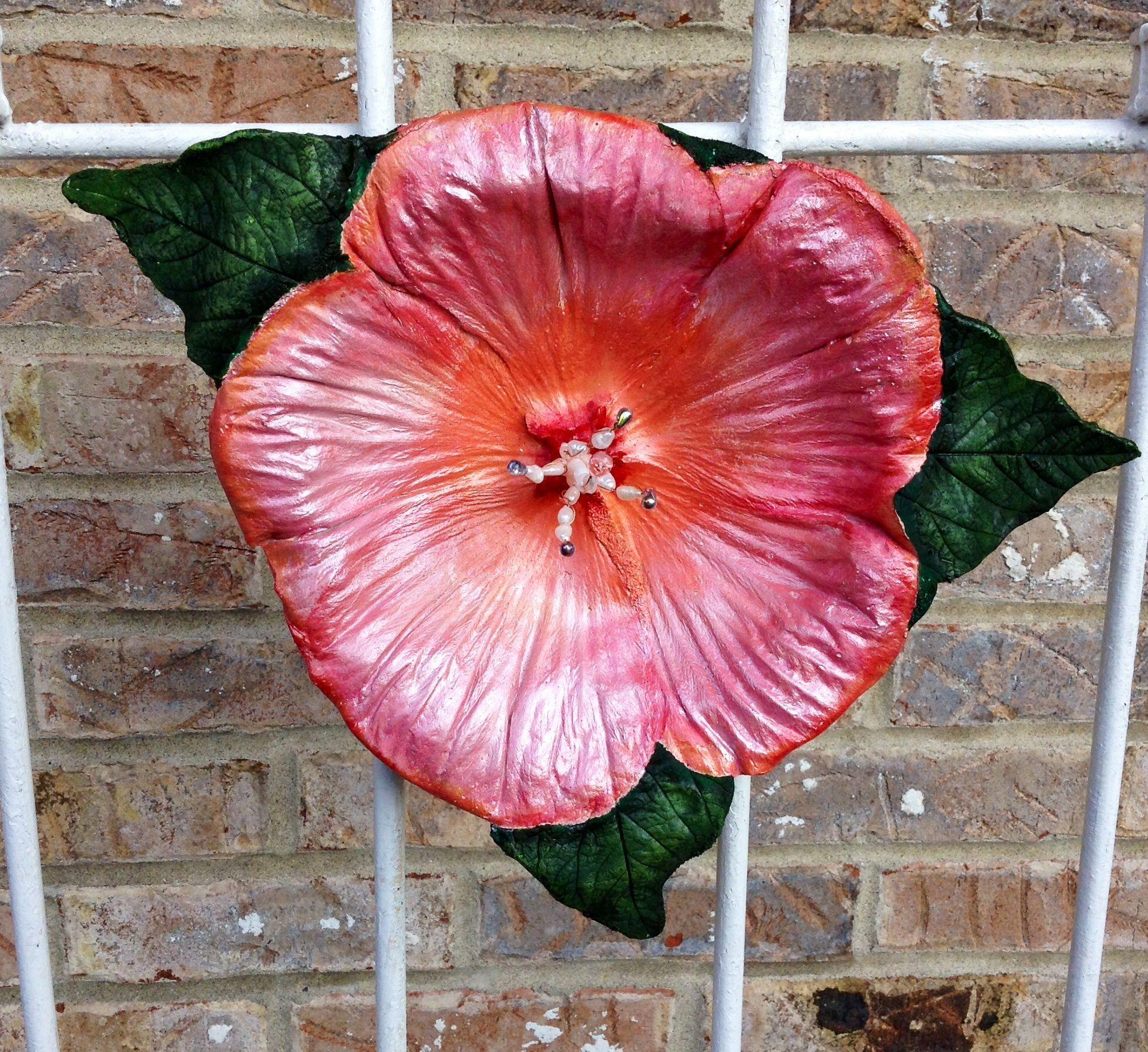 Peach Hibiscus Concrete Leaf Sculptures By Nancis Creative