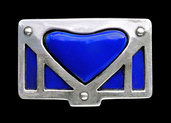 This is not contemporary - image from a gallery of vintage and/or antique objects. MURRLE BENNETT & CO Jugendstil brooch Silver Enamel
