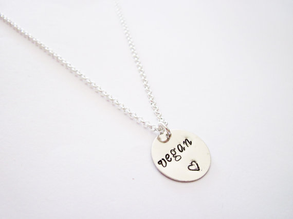 Vegan Necklace Hand Stamped Necklace Veg Jewelry by RobertaValle