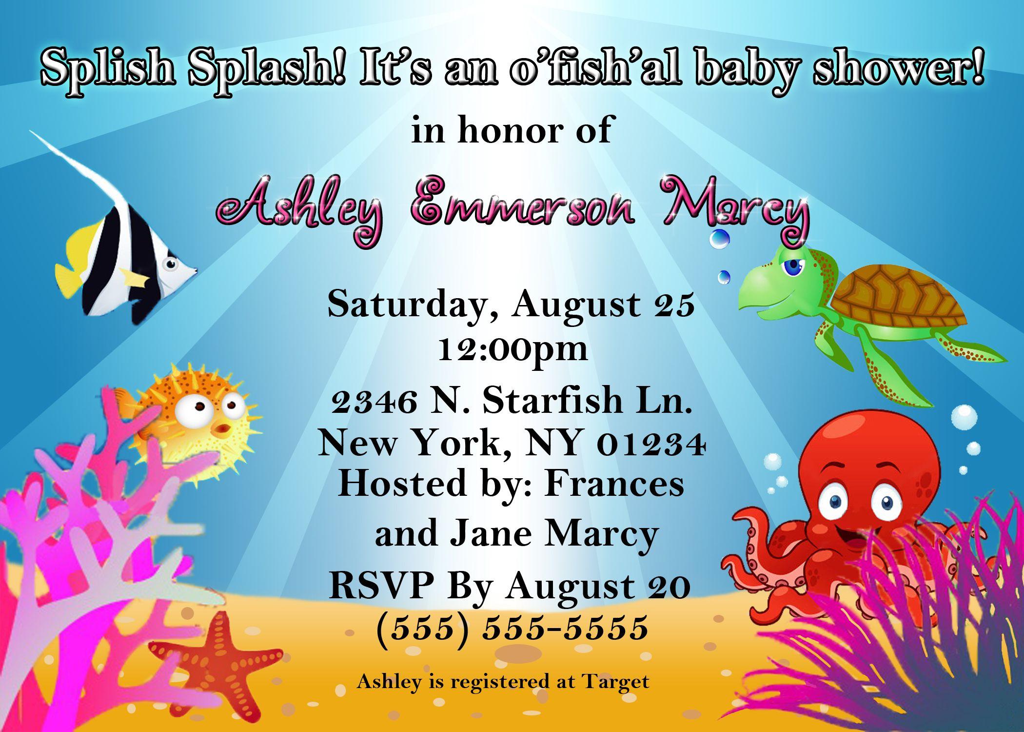 Ocean Theme Baby Shower Invitations Ocean Theme Baby Shower