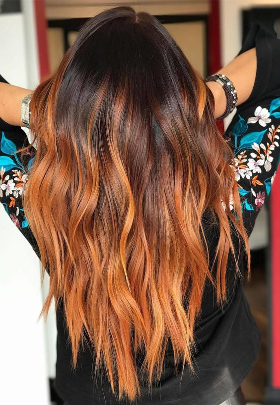 Best ideas of red ombre fire or flame ombre hair colors and highlights for women 2017. #copperbalayage