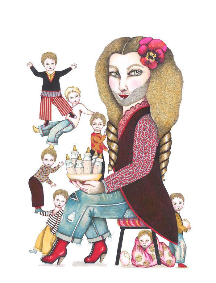 Saltimbanques (2009), Marie Desplechin, ill. Emmanuelle Houdart. Gerda von Blumenblut, la Donna Barbuta.