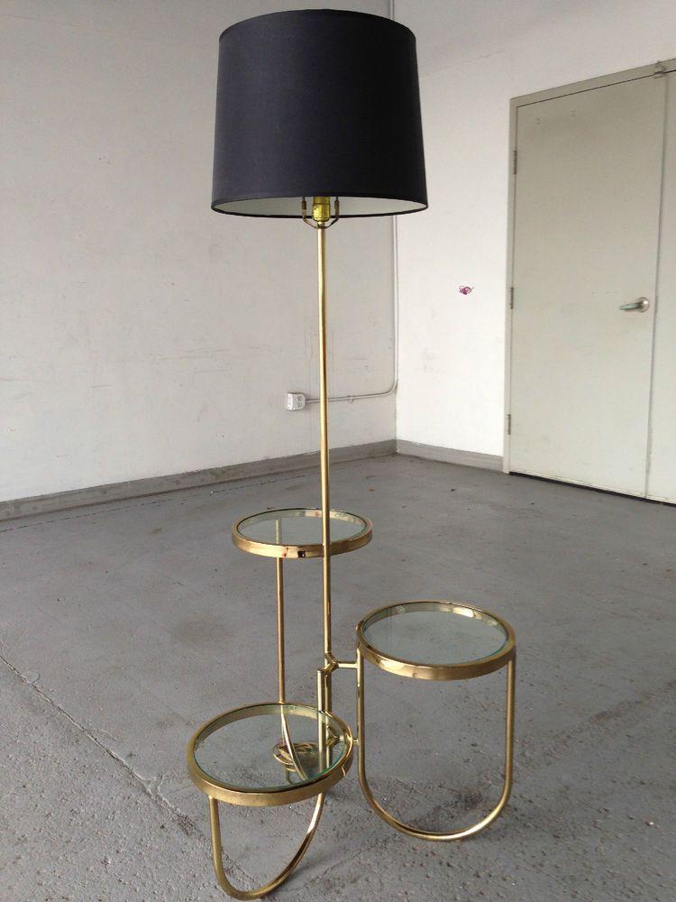 Mid Century Baughman Style Brass Rings 3 Tier Floor Table Lamp Floor Table Lamps
