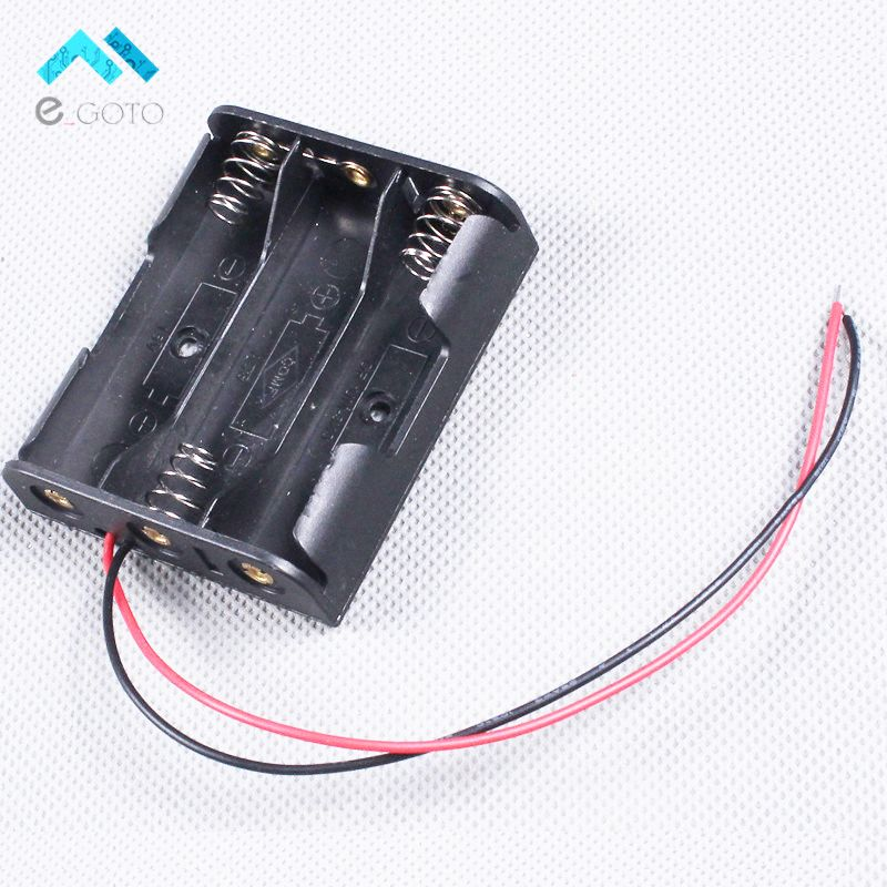 10 pcs Plastic Battery Storage Case Box Holder For 3 X AA 3xAA with wire leads