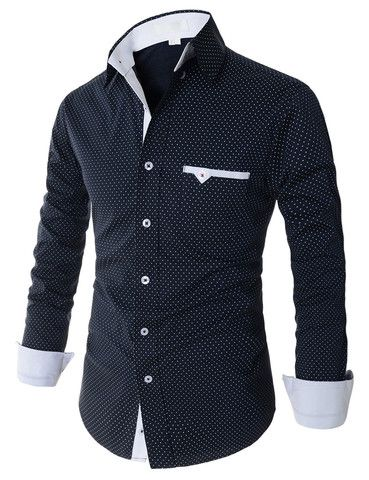 Mens Casual Slim Fit Button Down Dot Pattern Stretchy Long Sleeve Shirts