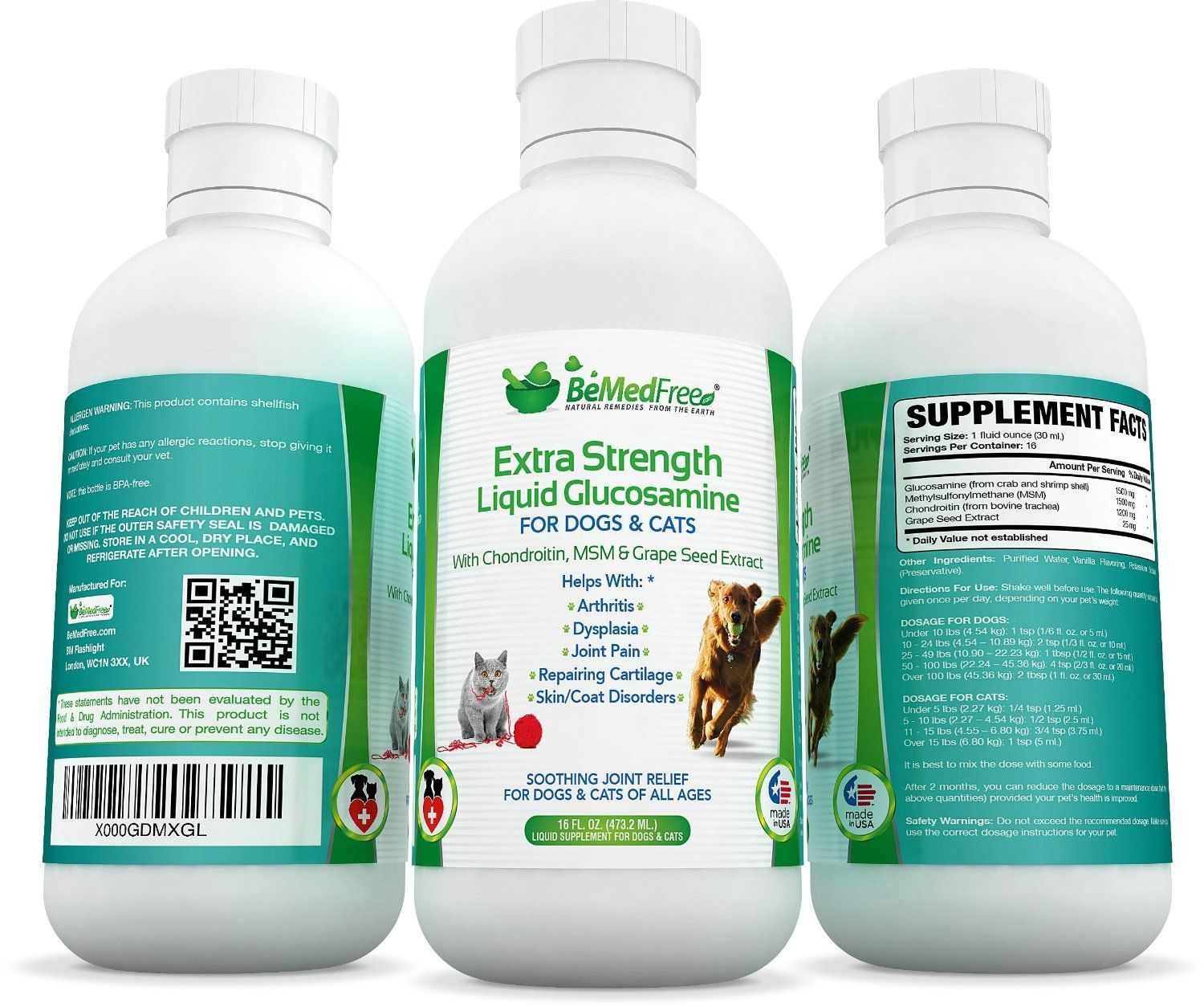 Extra Strength Liquid Glucosamine For Dogs Cats 16 Fl Oz Also Contains Chondroitin Msm Grape Seed Extract Best Natur Glucosamine Pet Shampoo Dog Cat