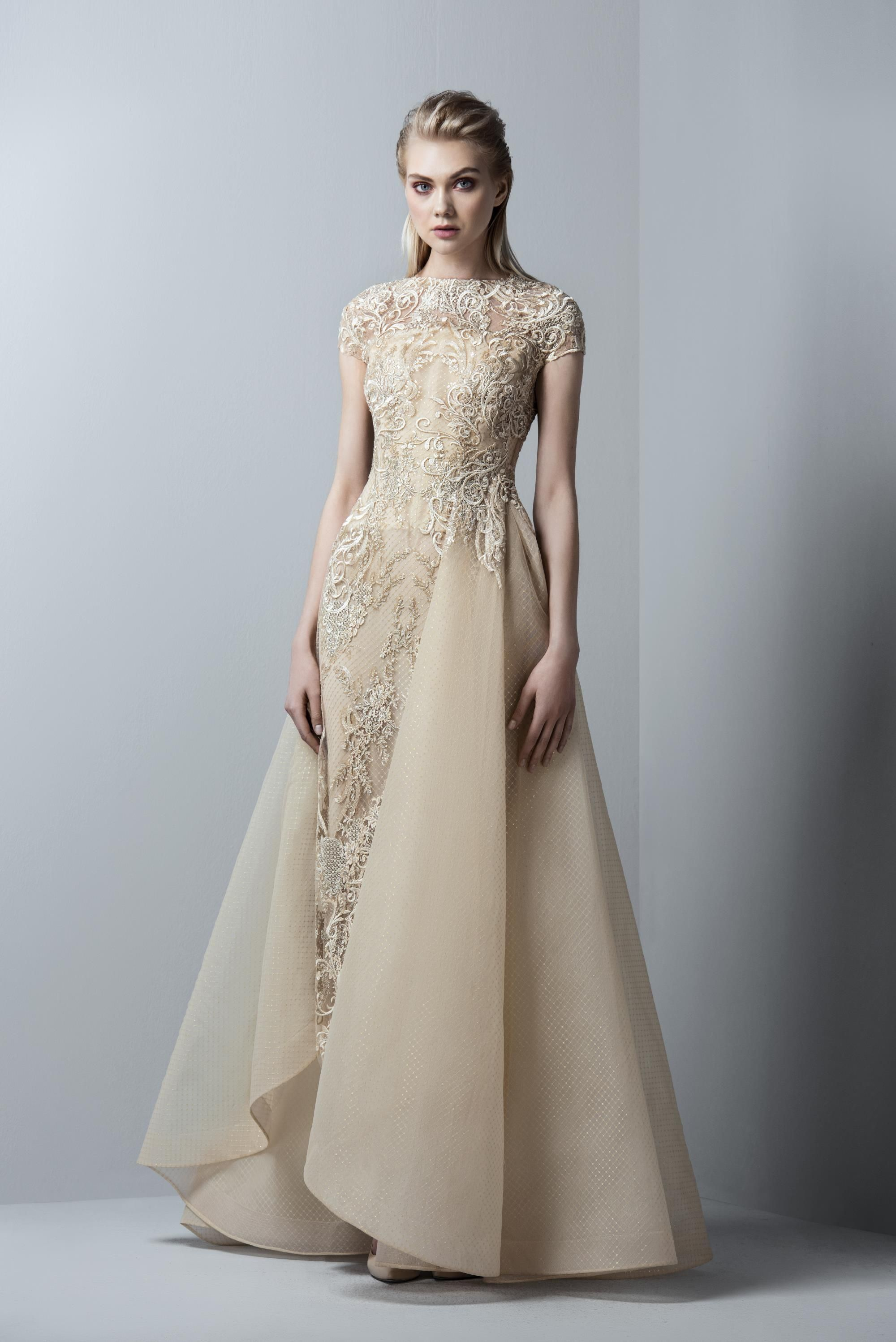 87ec4f63f505 SK by Saiid Kobeisy Gold Cap Sleeve Gown with Overskirt 3360 | Gowns ...