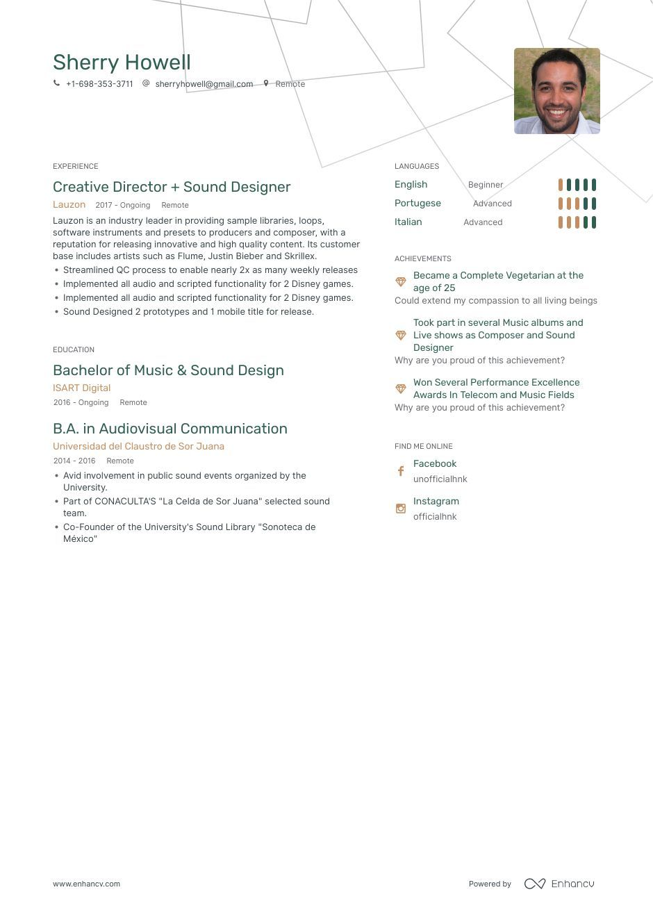 Download sound designer resume example for 2020 with
