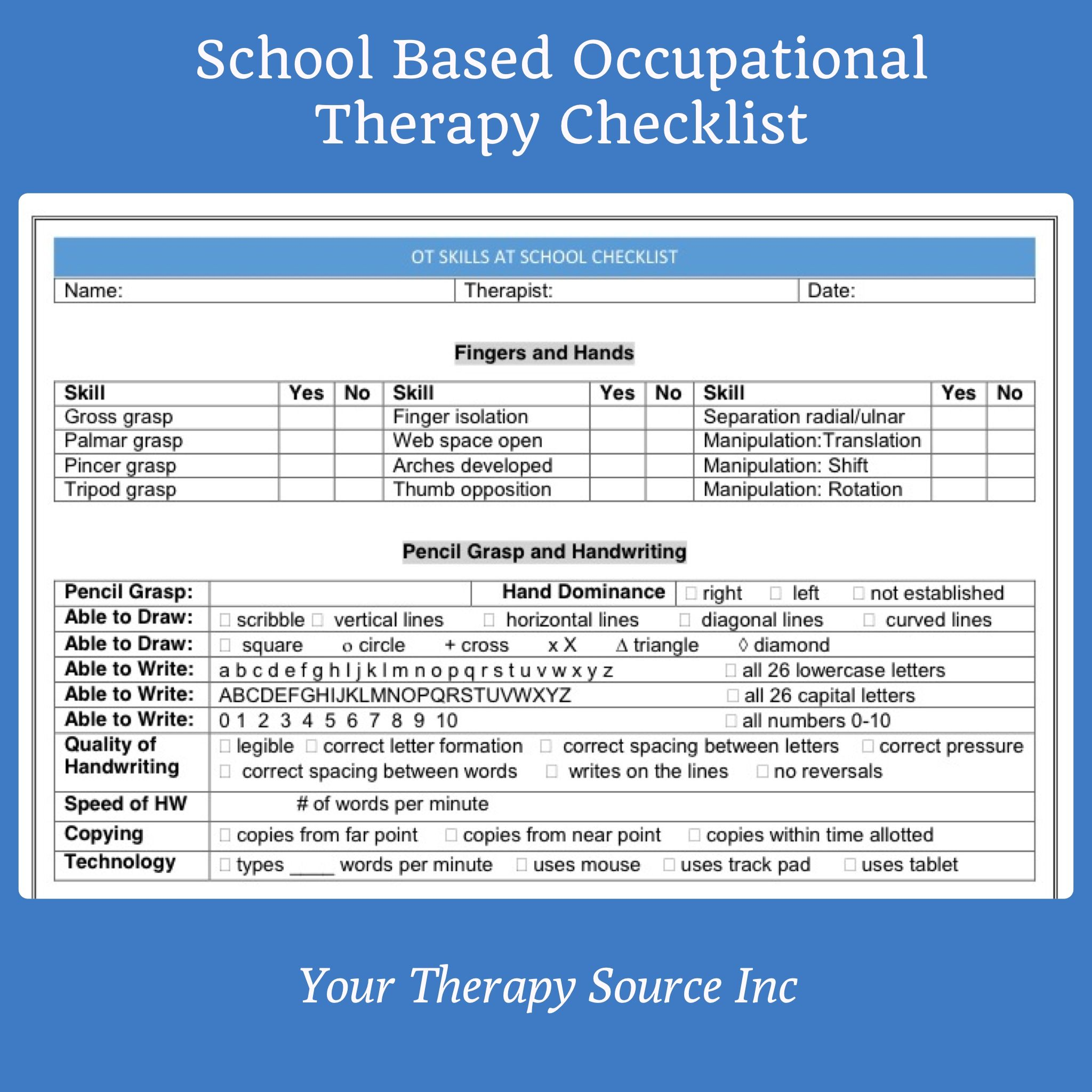 School Based Occupational Therapy Checklist  Your Therapy Source