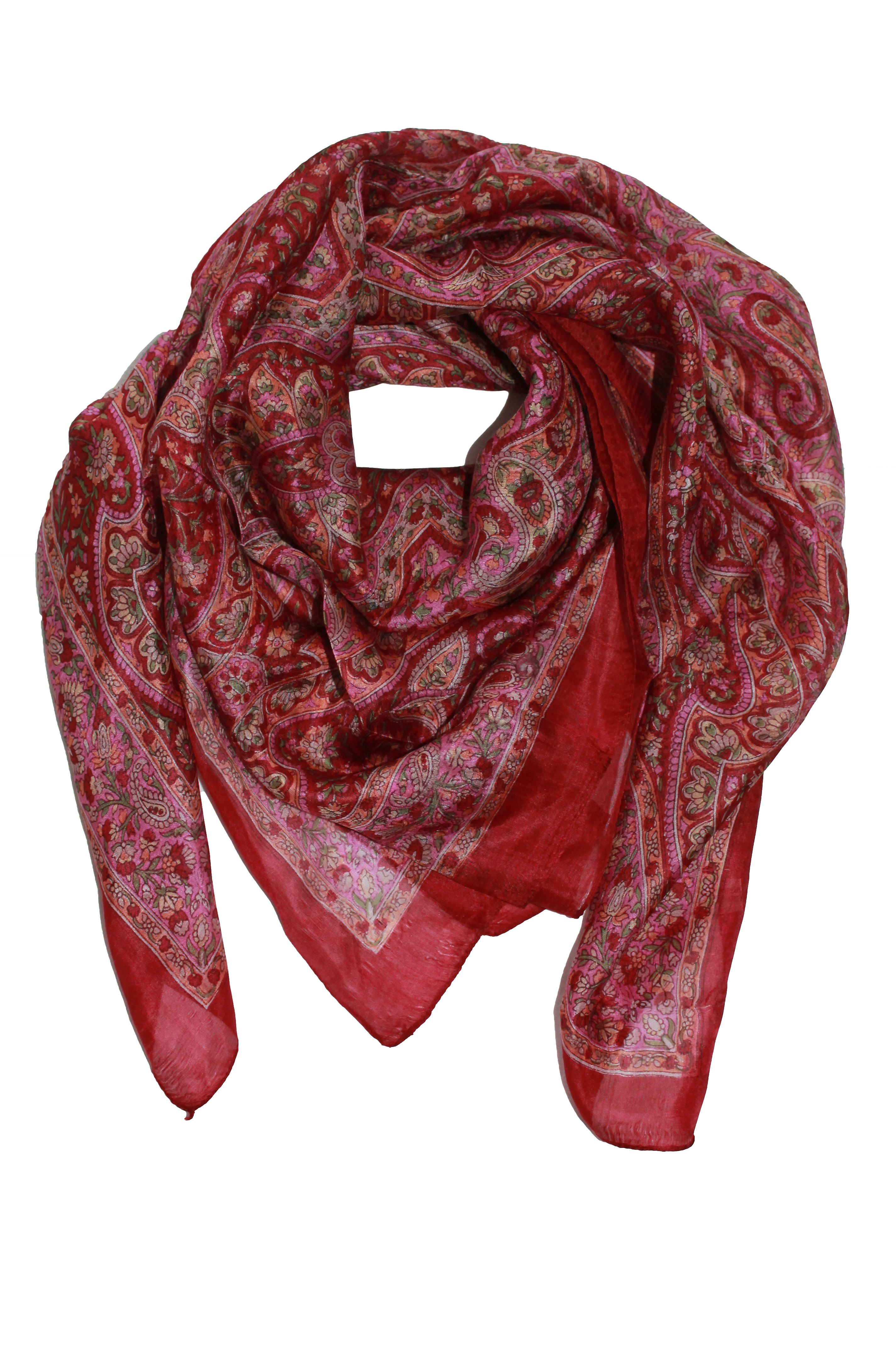Seidentuch in rot/pink mit Paisley-Muster