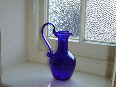 "Bristol Blue glass  Such a gorgeous cobalt blue. Group it together too in ""tablescapes or window sills"""