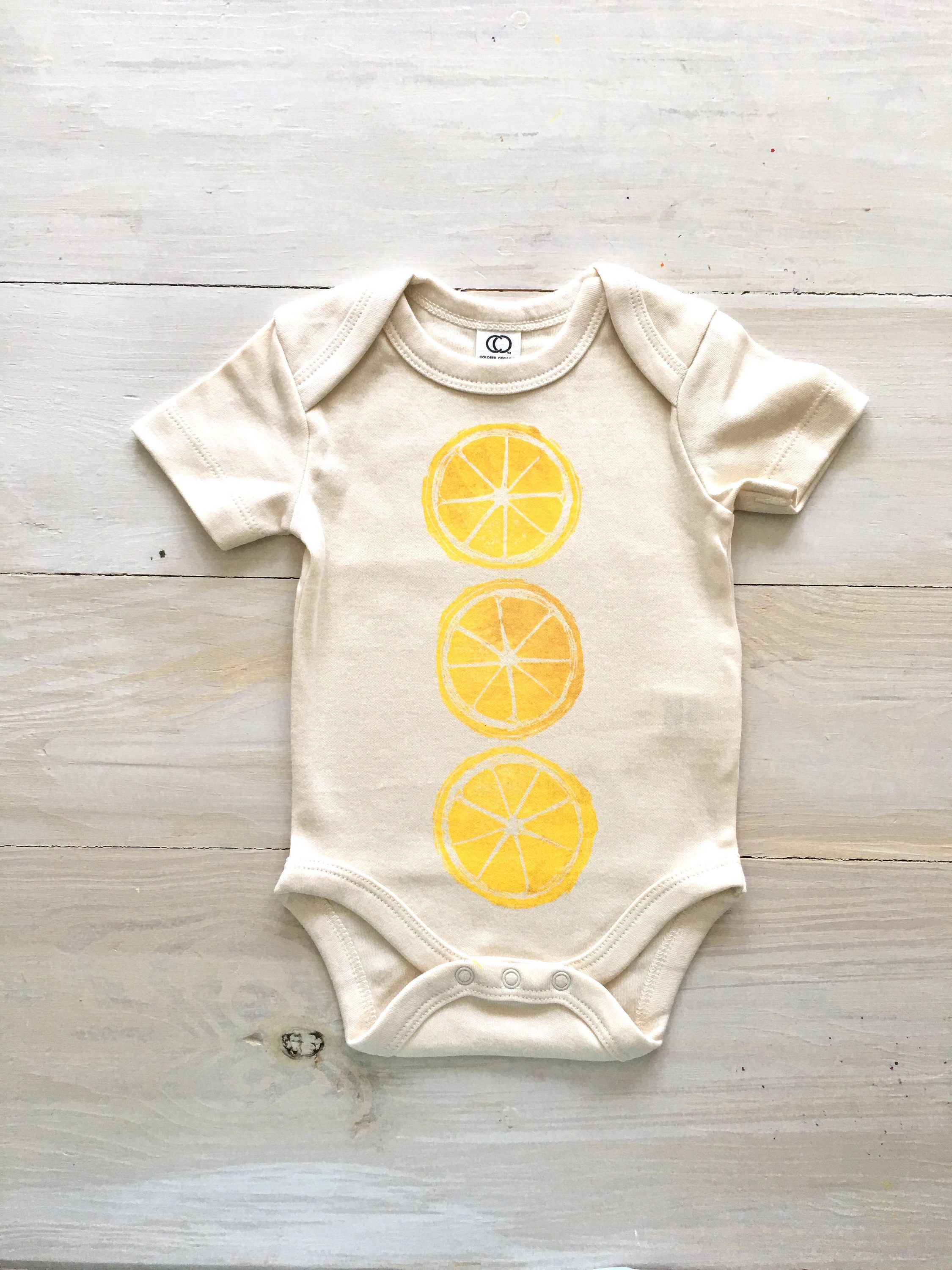0267505cf02 Lemon organic baby onesie. Citrus lemon art print handdrawn hand printed  one of a kind Baby girl boy organic bodysuit Newborn onesie beach Hawaiian  fruit ...