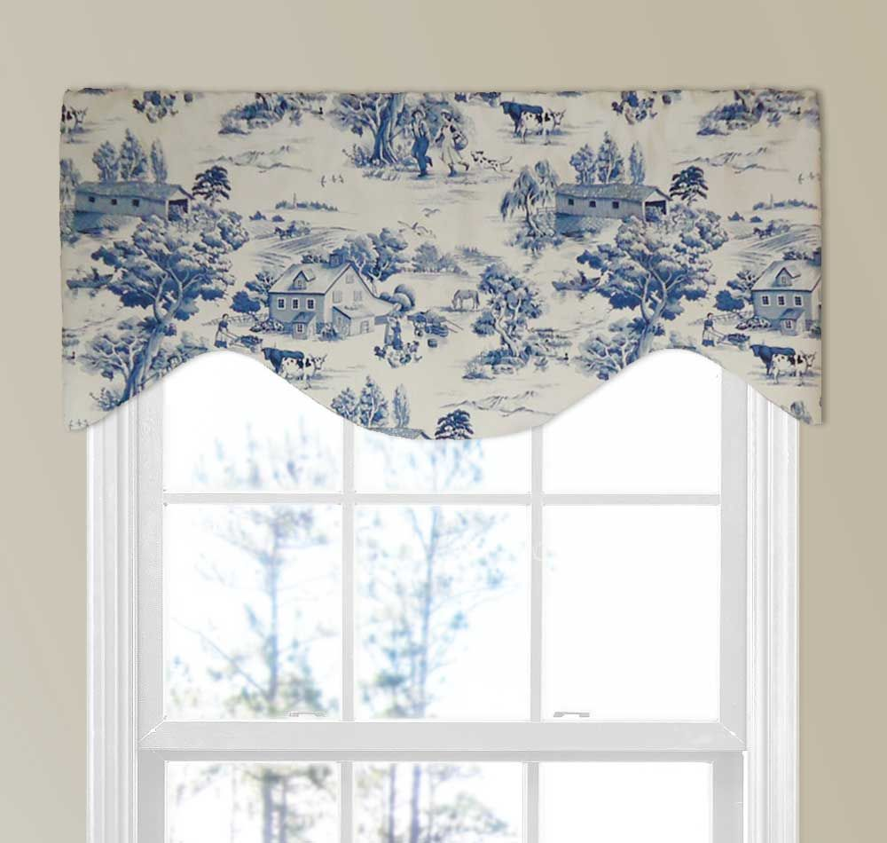 Farmhouse country toile valance in blue valance window