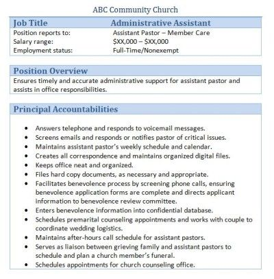 church administrative assistant member care job description. Resume Example. Resume CV Cover Letter