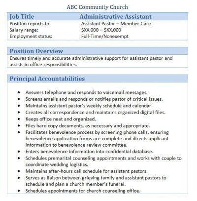 Church Forms And Job Descriptions Smart Church Management Executive Assistant Job Description Job Description Assistant Jobs