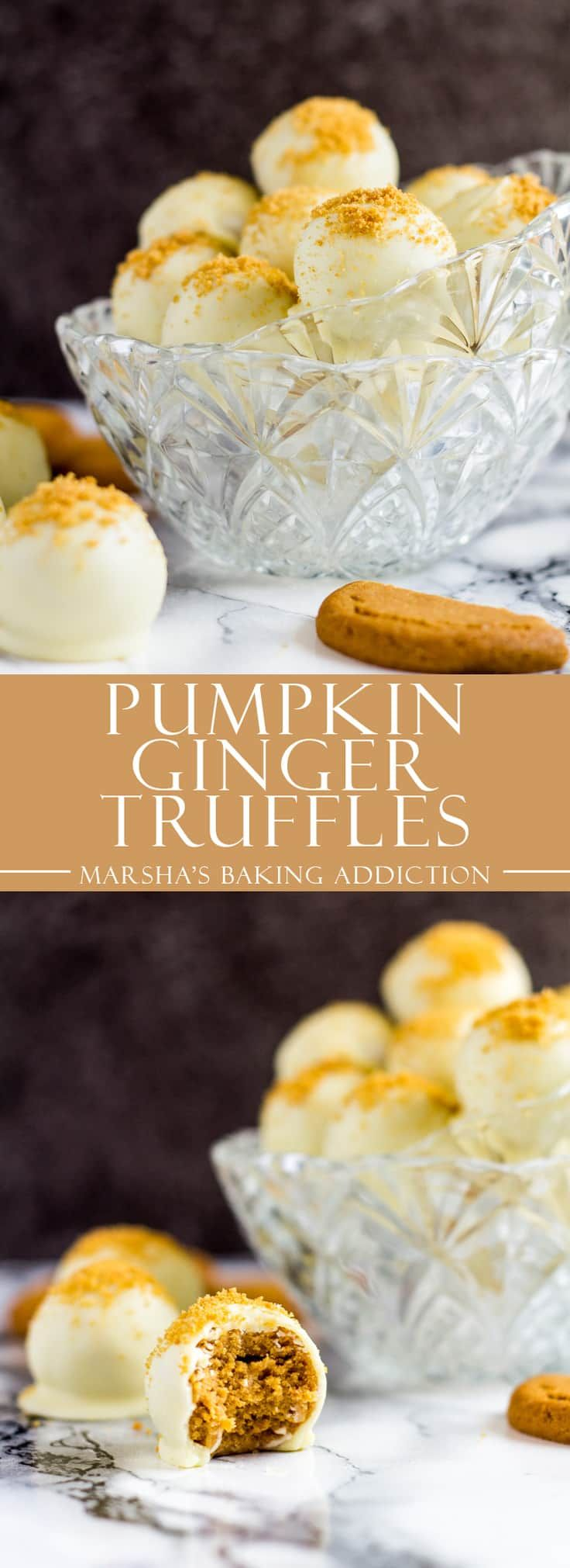Pumpkin Gingerbread Truffles- Deliciously creamy pumpkin truffles loaded with ginger biscuit crumbs, and coated in white chocolate! | marshasbakingaddiction.com | @marshasbakeblog