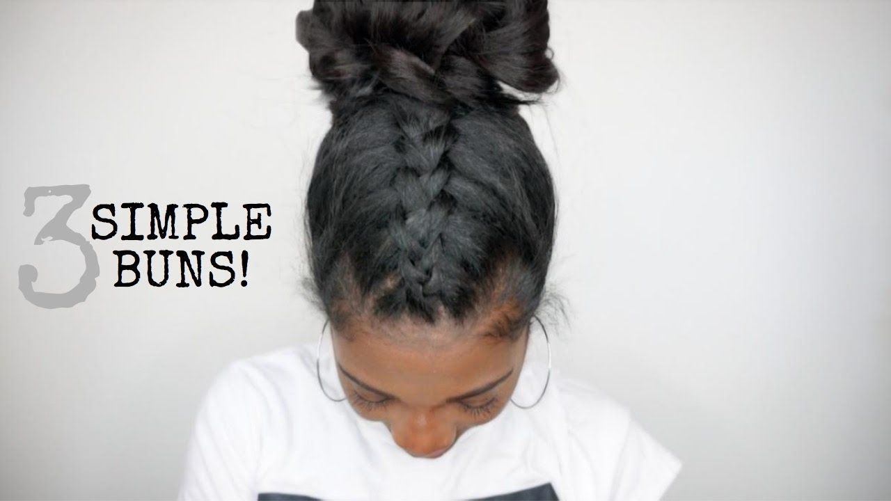 3 simple easy bun clipin hairstyles knappy hair