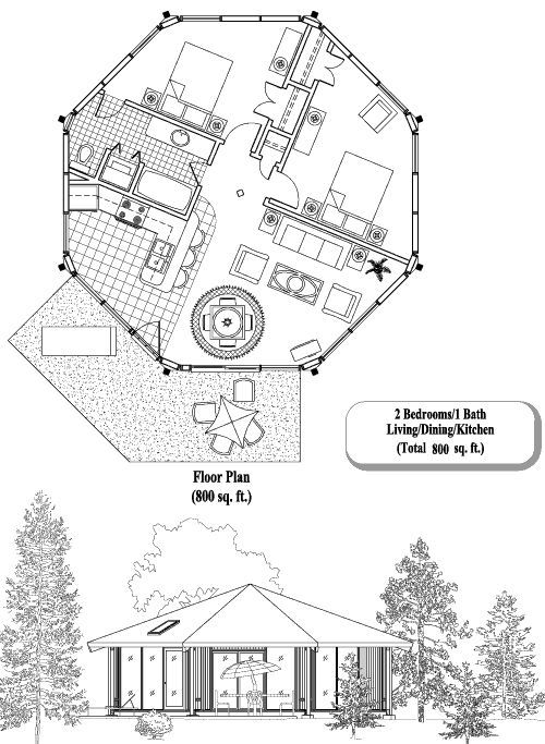 Octagonal home designs tree houses and garden ideas for Octagonal building plans